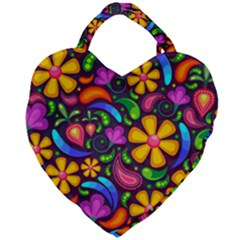 Floral Paisley Background Flower Purple Giant Heart Shaped Tote by HermanTelo