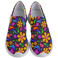 Floral Paisley Background Flower Purple Women s Lightweight Slip Ons by HermanTelo