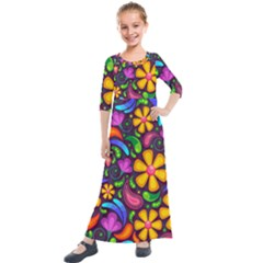Floral Paisley Background Flower Purple Kids  Quarter Sleeve Maxi Dress by HermanTelo