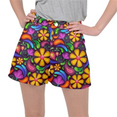 Floral Paisley Background Flower Purple Ripstop Shorts
