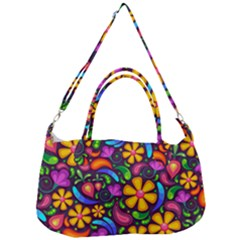 Floral Paisley Background Flower Purple Removal Strap Handbag