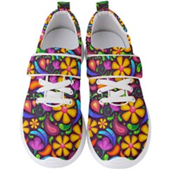 Floral Paisley Background Flower Purple Men s Velcro Strap Shoes by HermanTelo