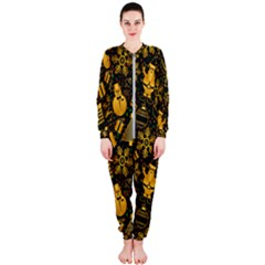 Christmas Background Gold Onepiece Jumpsuit (ladies)