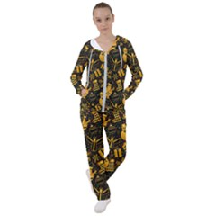 Christmas Background Gold Women s Tracksuit