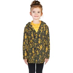 Christmas Background Gold Kids  Double Breasted Button Coat