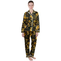 Christmas Background Gold Satin Long Sleeve Pyjamas Set by HermanTelo