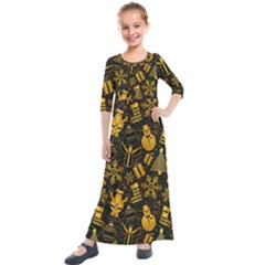 Christmas Background Gold Kids  Quarter Sleeve Maxi Dress by HermanTelo