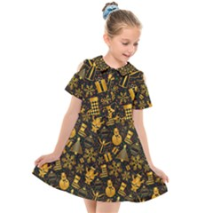 Christmas Background Gold Kids  Short Sleeve Shirt Dress by HermanTelo