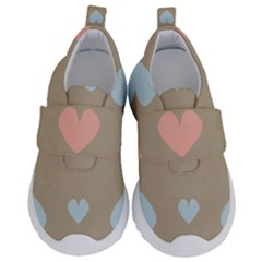 Hearts Heart Love Romantic Brown Kids  Velcro No Lace Shoes by HermanTelo