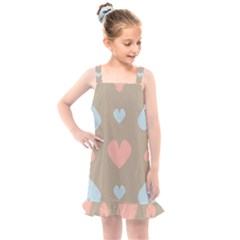 Hearts Heart Love Romantic Brown Kids  Overall Dress by HermanTelo