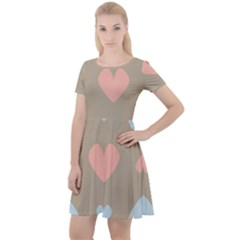 Hearts Heart Love Romantic Brown Cap Sleeve Velour Dress