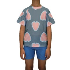 Hearts Love Blue Pink Green Kids  Short Sleeve Swimwear