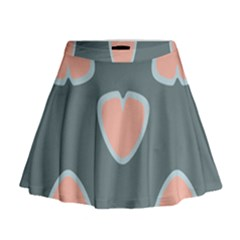 Hearts Love Blue Pink Green Mini Flare Skirt