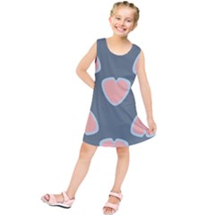 Hearts Love Blue Pink Green Kids  Tunic Dress by HermanTelo