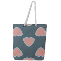Hearts Love Blue Pink Green Full Print Rope Handle Tote (large)