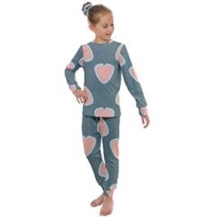 Hearts Love Blue Pink Green Kids  Long Sleeve Set