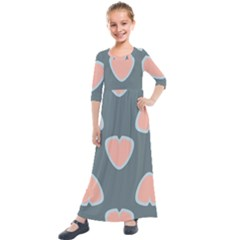 Hearts Love Blue Pink Green Kids  Quarter Sleeve Maxi Dress by HermanTelo