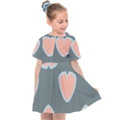 Hearts Love Blue Pink Green Kids  Sailor Dress by HermanTelo