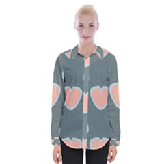Hearts Love Blue Pink Green Womens Long Sleeve Shirt by HermanTelo