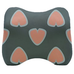 Hearts Love Blue Pink Green Velour Head Support Cushion by HermanTelo