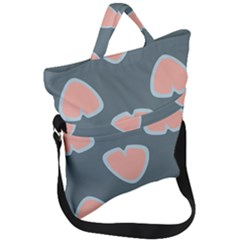 Hearts Love Blue Pink Green Fold Over Handle Tote Bag