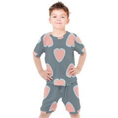 Hearts Love Blue Pink Green Kids  Tee And Shorts Set by HermanTelo
