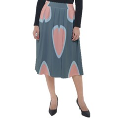 Hearts Love Blue Pink Green Classic Velour Midi Skirt
