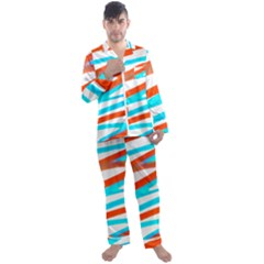 Abstract Colors Print Design Men s Satin Pajamas Long Pants Set