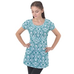Decorative Blue Floral Pattern Puff Sleeve Tunic Top by tarastyle