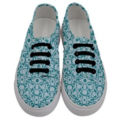 Decorative Blue Floral Pattern Men s Classic Low Top Sneakers