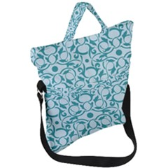 Decorative Blue Floral Pattern Fold Over Handle Tote Bag by tarastyle