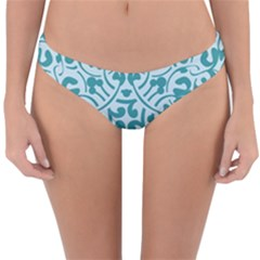 Decorative Blue Floral Pattern Reversible Hipster Bikini Bottoms by tarastyle