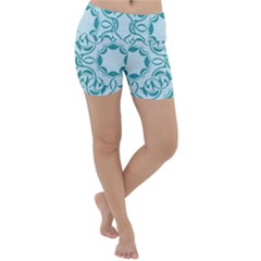 Decorative Blue Floral Pattern Lightweight Velour Yoga Shorts by tarastyle
