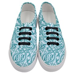Decorative Blue Floral Pattern Women s Classic Low Top Sneakers