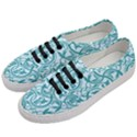 Decorative Blue Floral Pattern Women s Classic Low Top Sneakers View2