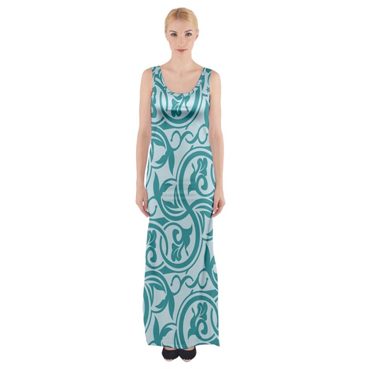 Decorative Blue Floral Pattern Maxi Thigh Split Dress