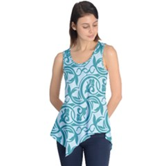 Decorative Blue Floral Pattern Sleeveless Tunic
