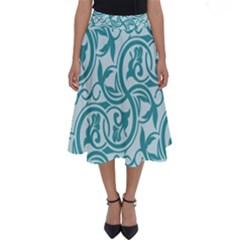 Decorative Blue Floral Pattern Perfect Length Midi Skirt