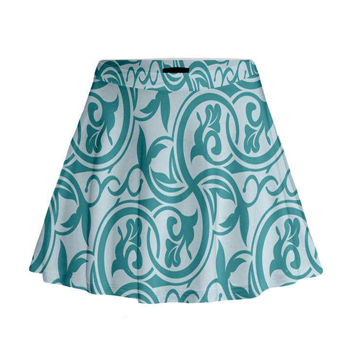 Decorative Blue Floral Pattern Mini Flare Skirt