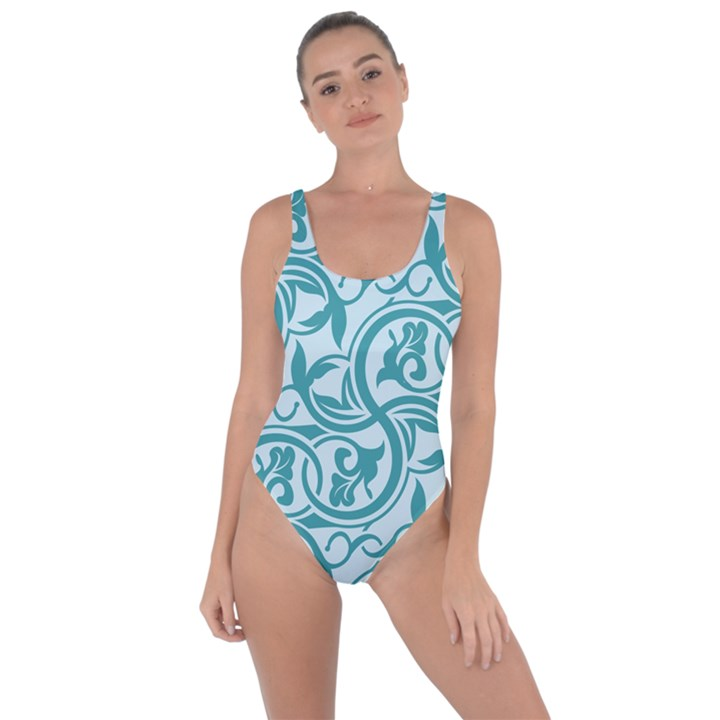 Decorative Blue Floral Pattern Bring Sexy Back Swimsuit
