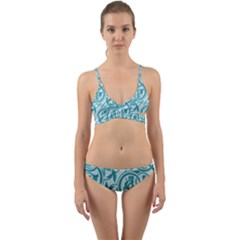 Decorative Blue Floral Pattern Wrap Around Bikini Set