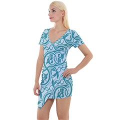 Decorative Blue Floral Pattern Short Sleeve Asymmetric Mini Dress