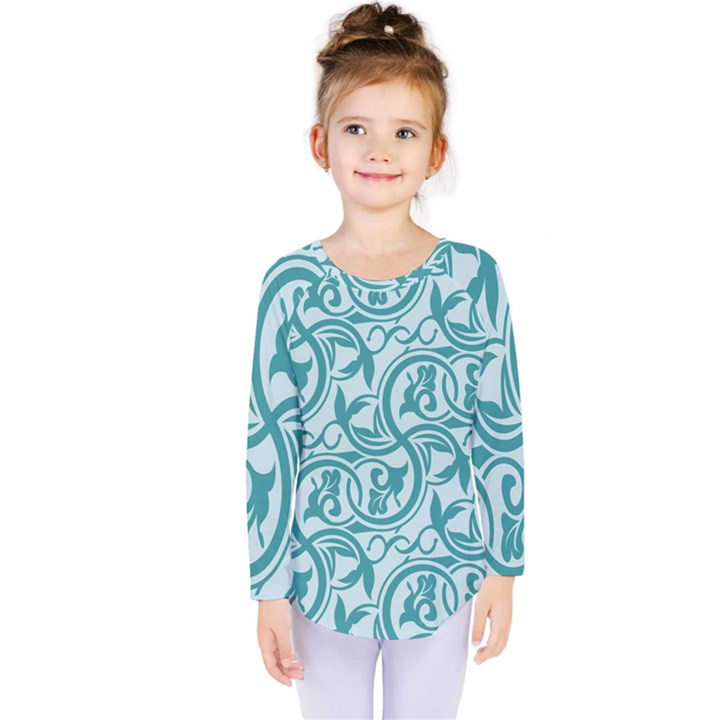 Decorative Blue Floral Pattern Kids  Long Sleeve Tee