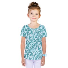 Decorative Blue Floral Pattern Kids  One Piece Tee