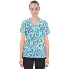 Decorative Blue Floral Pattern Women s V Neck Scrub Top