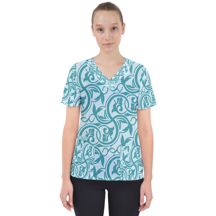 Decorative Blue Floral Pattern Women s V-Neck Scrub Top