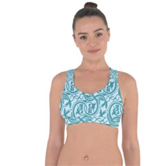 Decorative Blue Floral Pattern Cross String Back Sports Bra