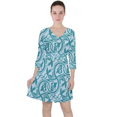 Decorative Blue Floral Pattern Ruffle Dress