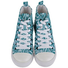 Decorative Blue Floral Pattern Women s Mid Top Canvas Sneakers