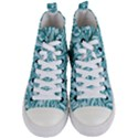 Decorative Blue Floral Pattern Women s Mid-Top Canvas Sneakers View1